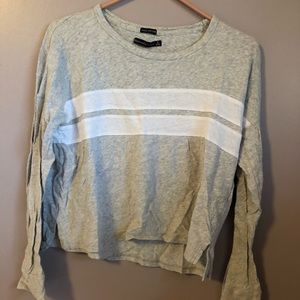 Grey Two stripe Long Sleeve Tee A and F